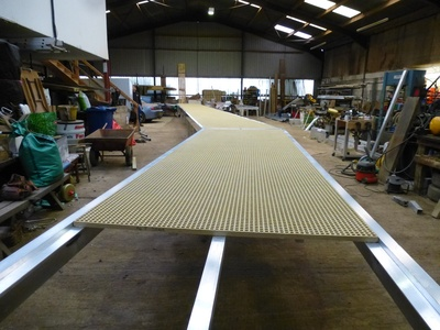 Constructing a 20m section of a 65m bespoke built jetty in the workshop!