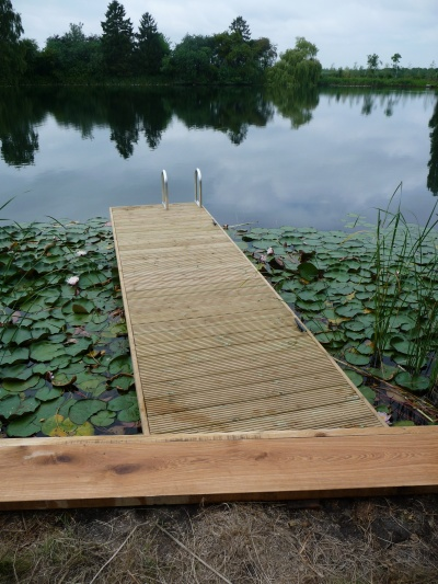 Jetty with swimming access ladder