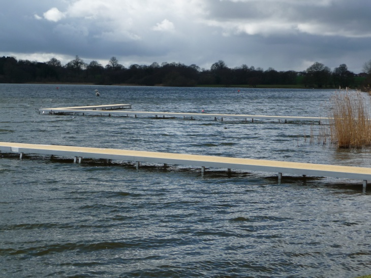 A huge, 65m, angled bespoke jetty for a sailing club
