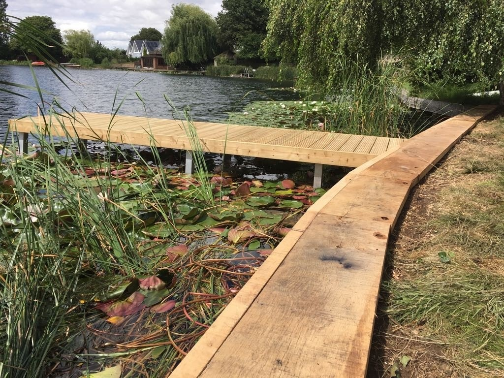 Jetty with oak cladding